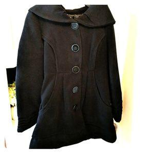 NWT Hooded black dress coat